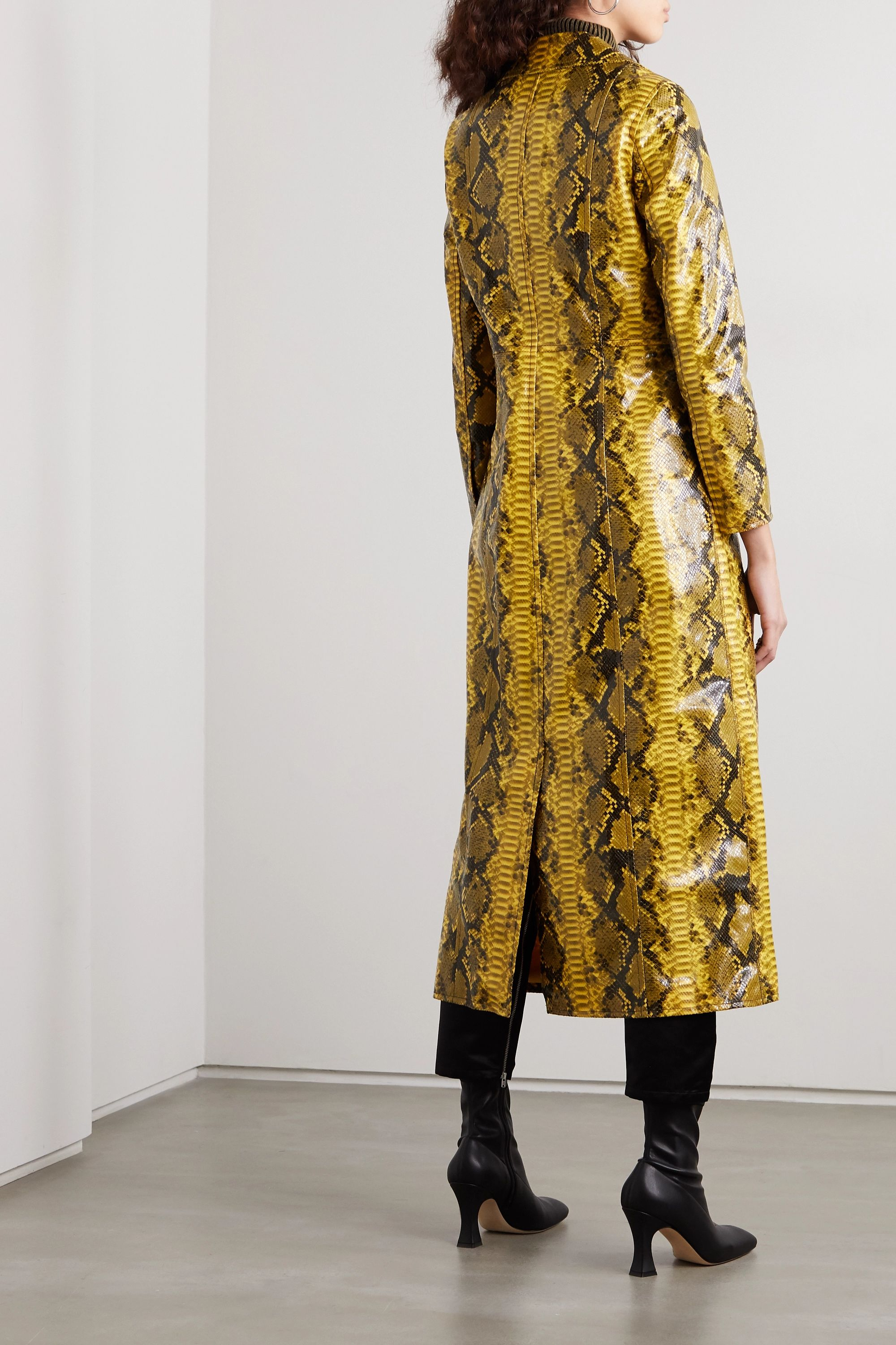 Stand Studio Sasha snake-effect faux patent-leather trench coat