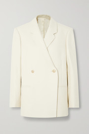 Loreo oversized double-breasted cotton-blend blazer