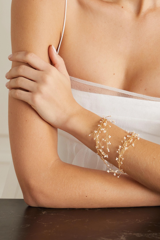 14 / Quatorze Baby's Breath gold-tone pearl cuff