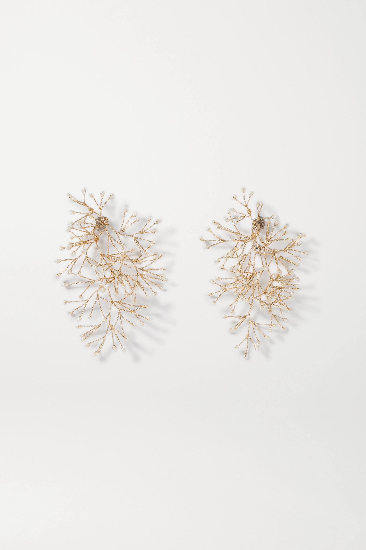 14 / Quatorze Gold-tone pearl earrings