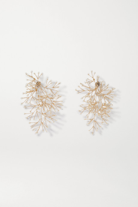 Gold Gold-tone pearl earrings | 14 / Quatorze KJujkg