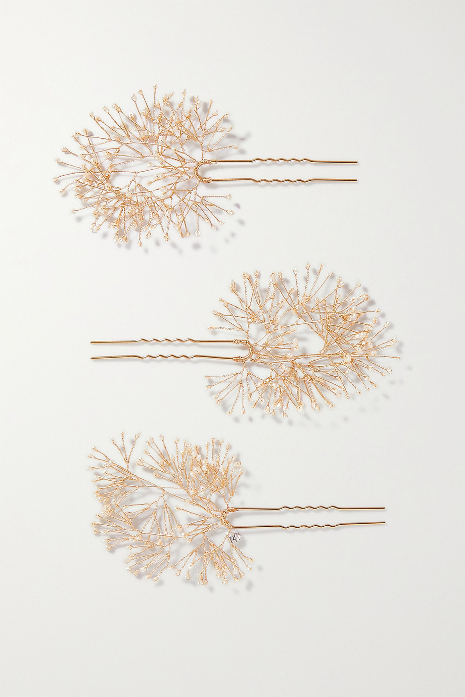 14 / Quatorze Set of three gold-tone pearl hair pins