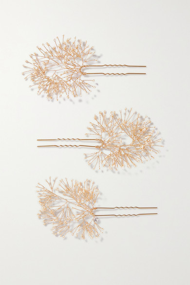 14 / Quatorze - Set Of Three Gold-tone Pearl Hair Pins - one size