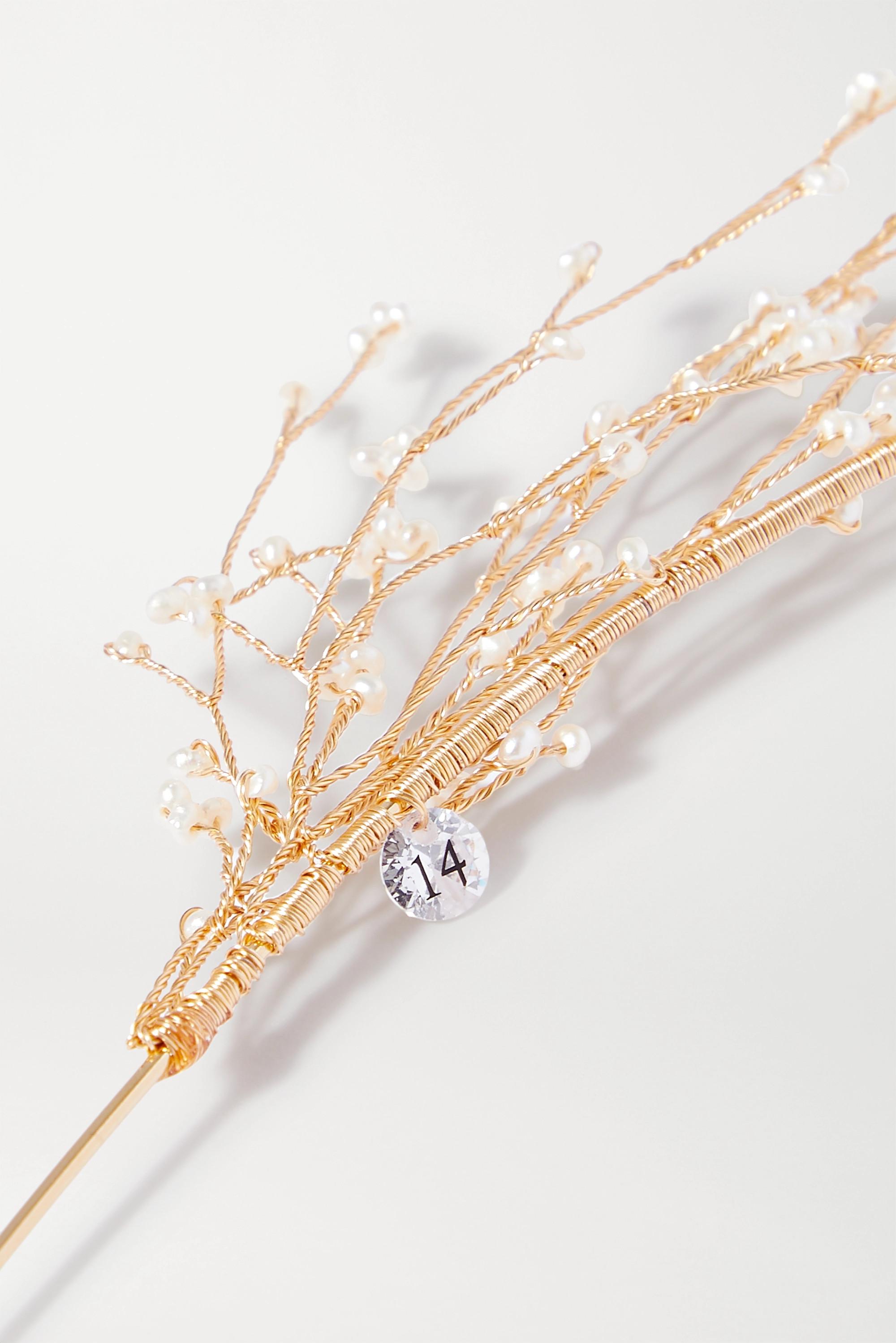 14 / Quatorze Goldfarbener Haarreif mit Perlen