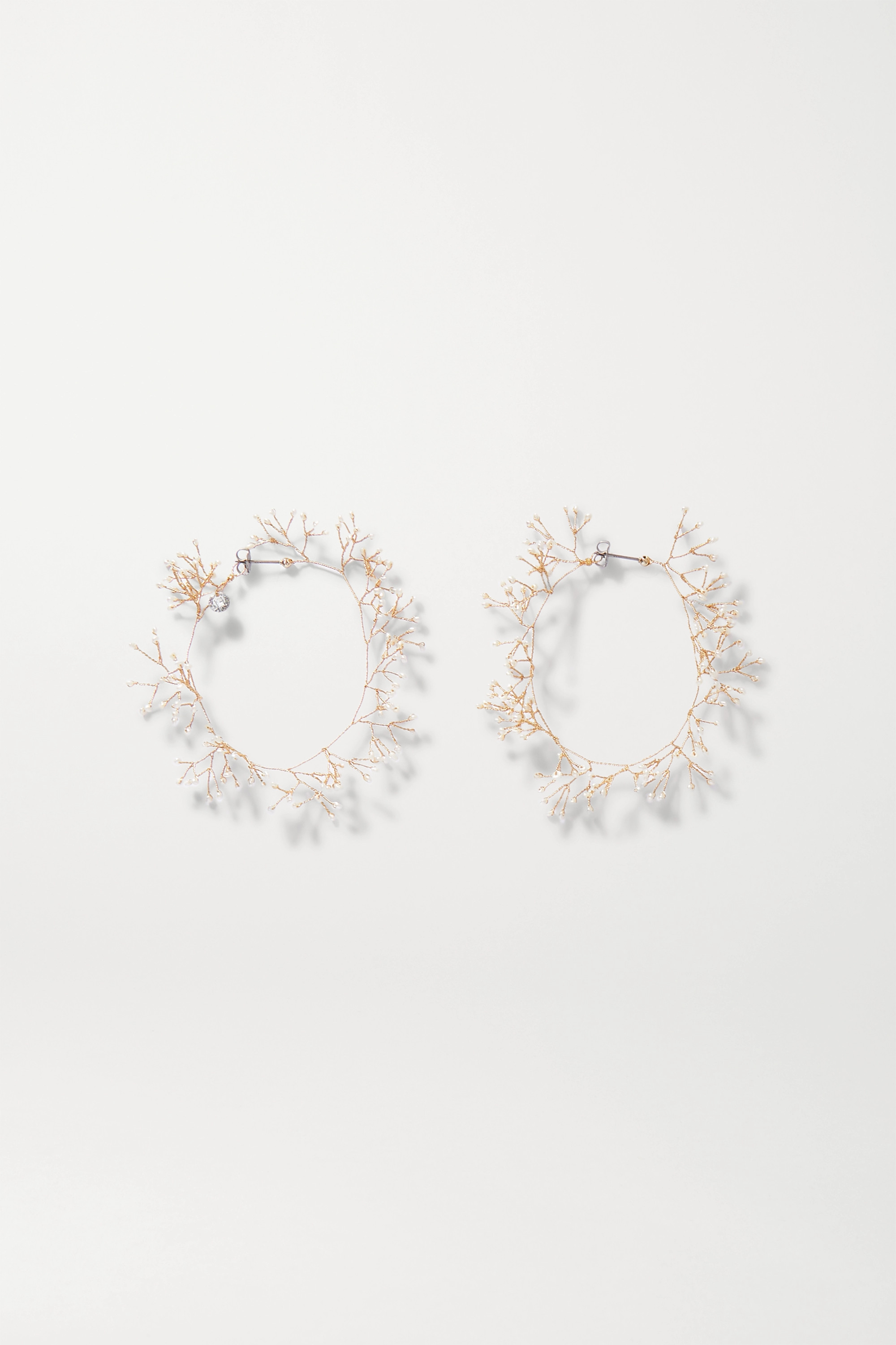 14 / Quatorze Baby's Breath gold-tone pearl hoop earrings