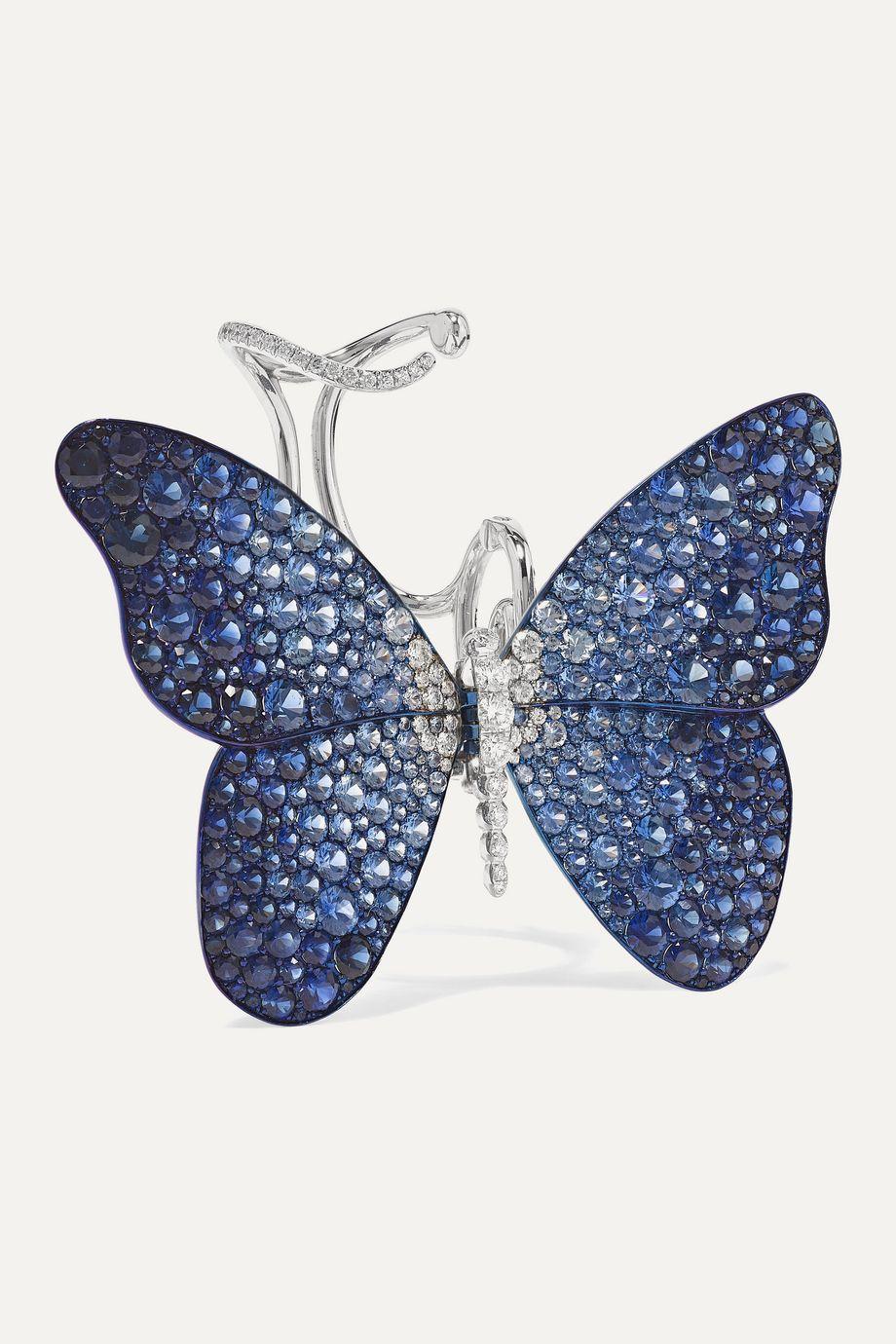 G by Glenn Spiro Papillon titanium, 18-karat white gold, sapphire and diamond ring