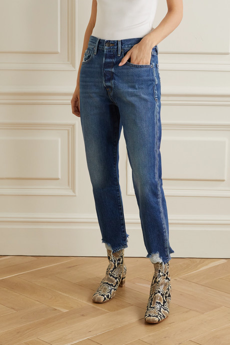 Le Original cropped distressed high-rise straight-leg jeans