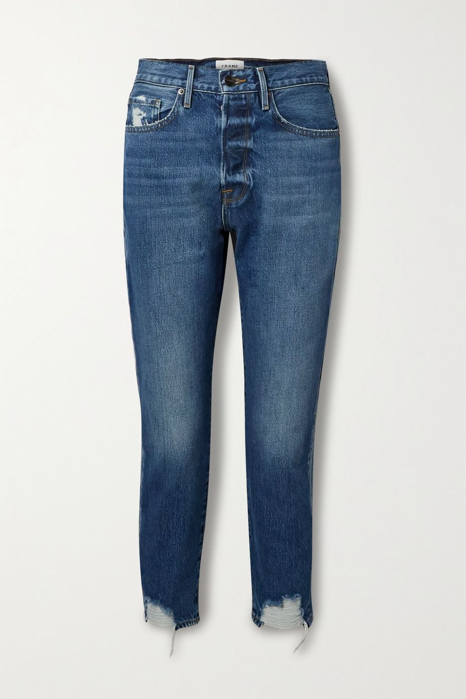 FRAME Le Original cropped distressed high-rise straight-leg jeans