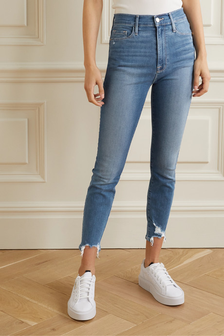 Ali cropped distressed high-rise skinny jeans