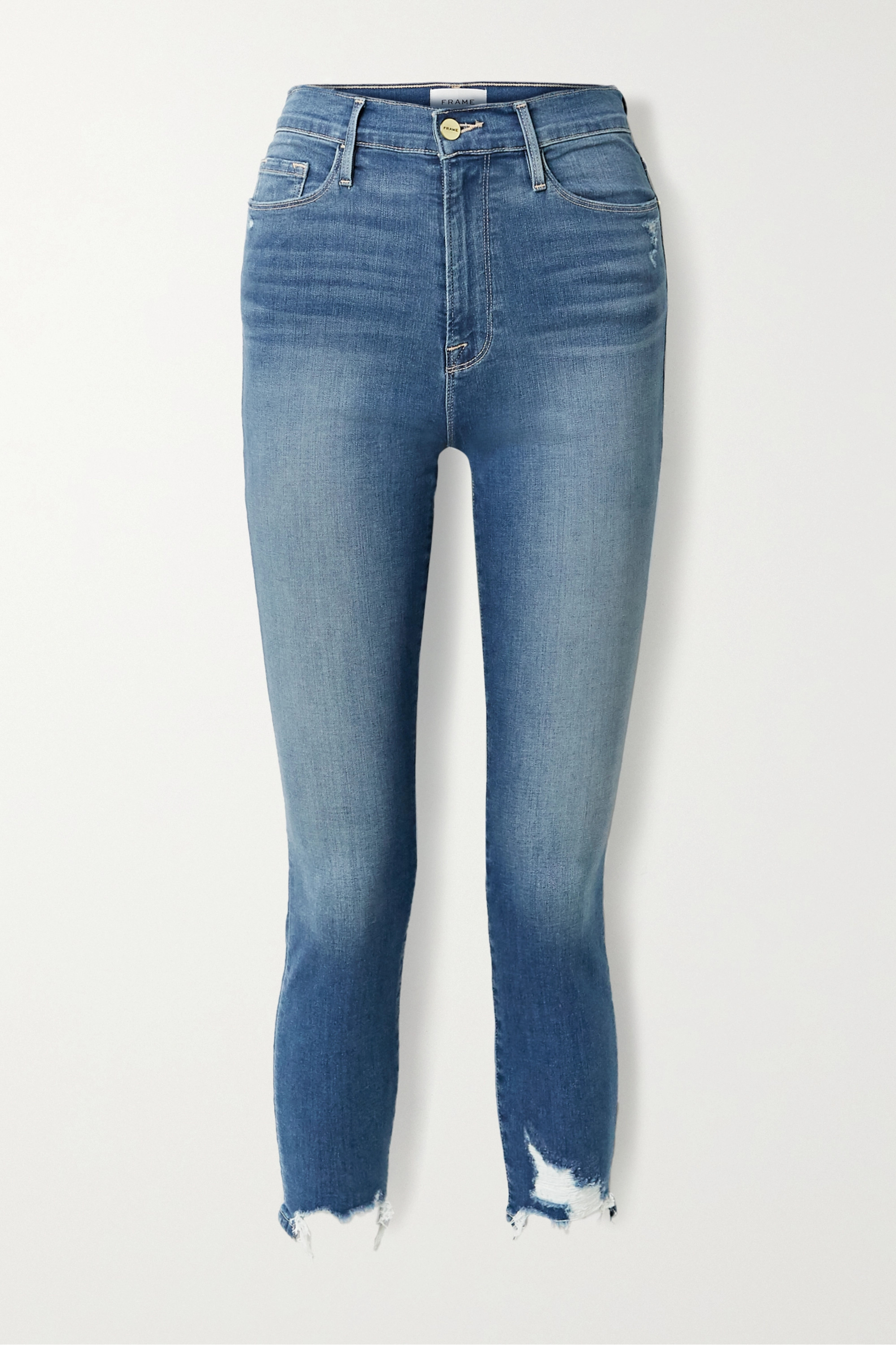 FRAME Ali cropped distressed high-rise skinny jeans