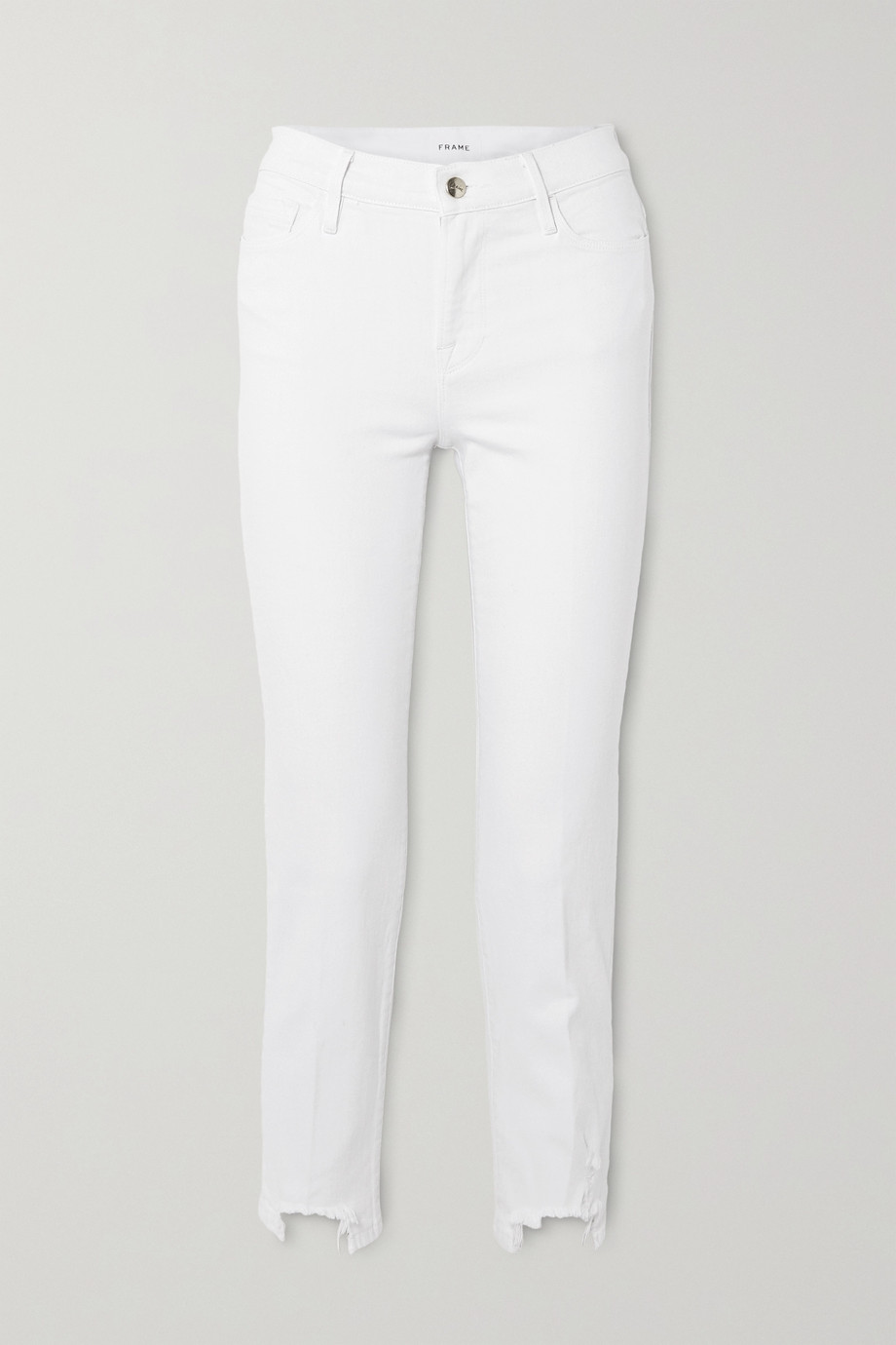 FRAME Le Nouveau cropped distressed mid-rise slim-fit jeans