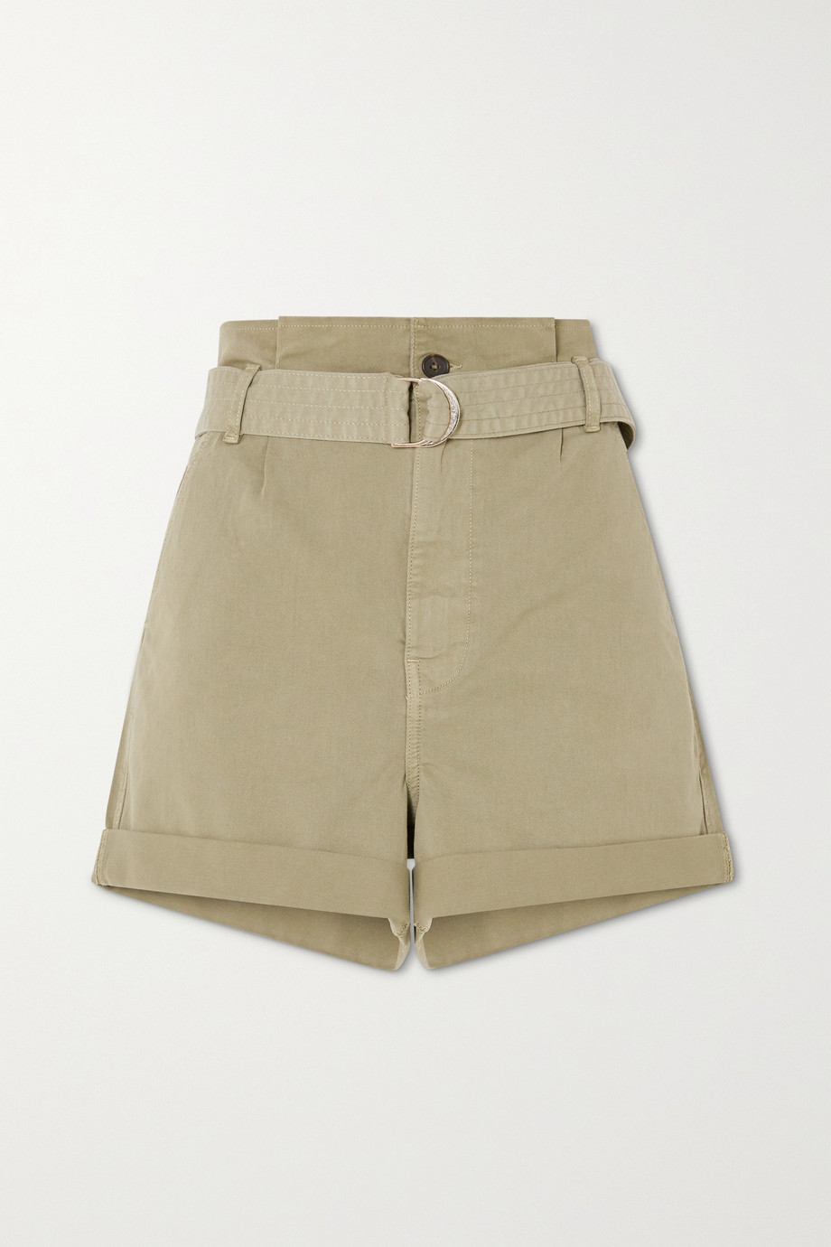 FRAME Belted cotton-blend shorts