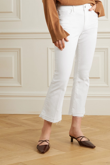 Le Pixie Crop frayed high-rise bootcut jeans