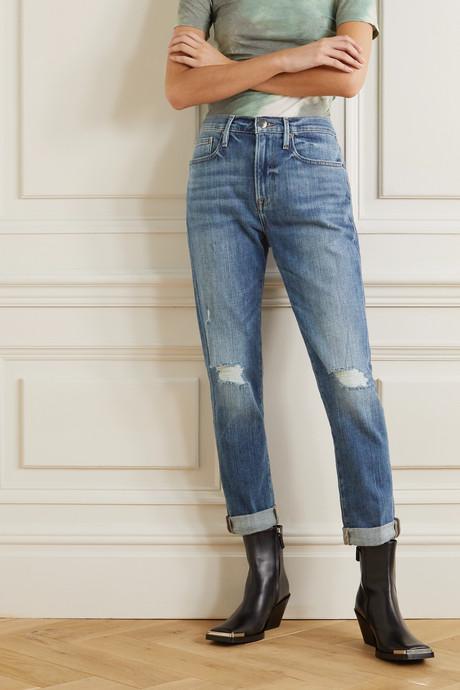 Le Beau distressed slim boyfriend jeans