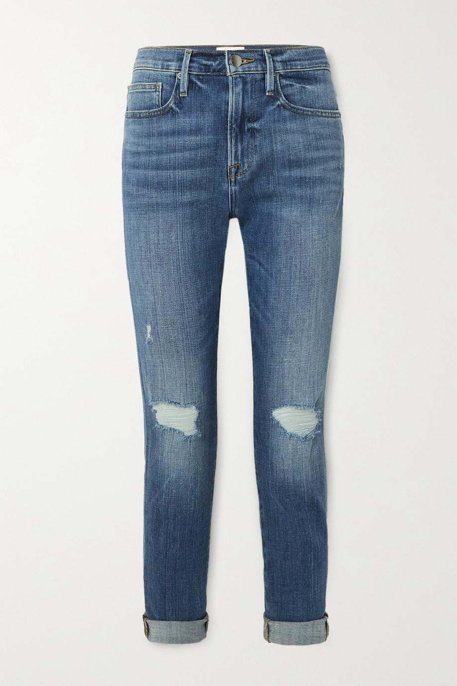 FRAME Le Beau distressed slim boyfriend jeans