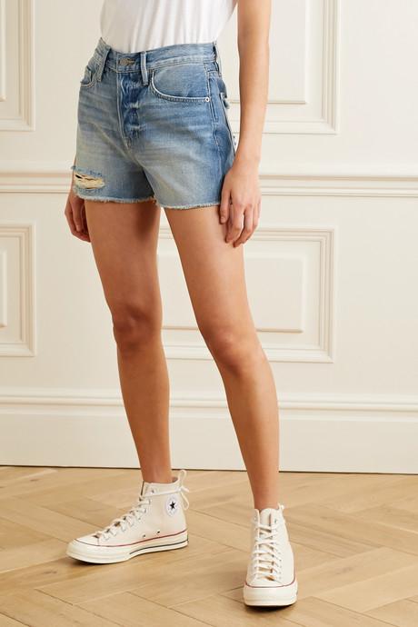 Le Heritage Vintage distressed denim shorts