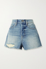 Le Heritage Vintage Jeansshorts in Distressed-Optik