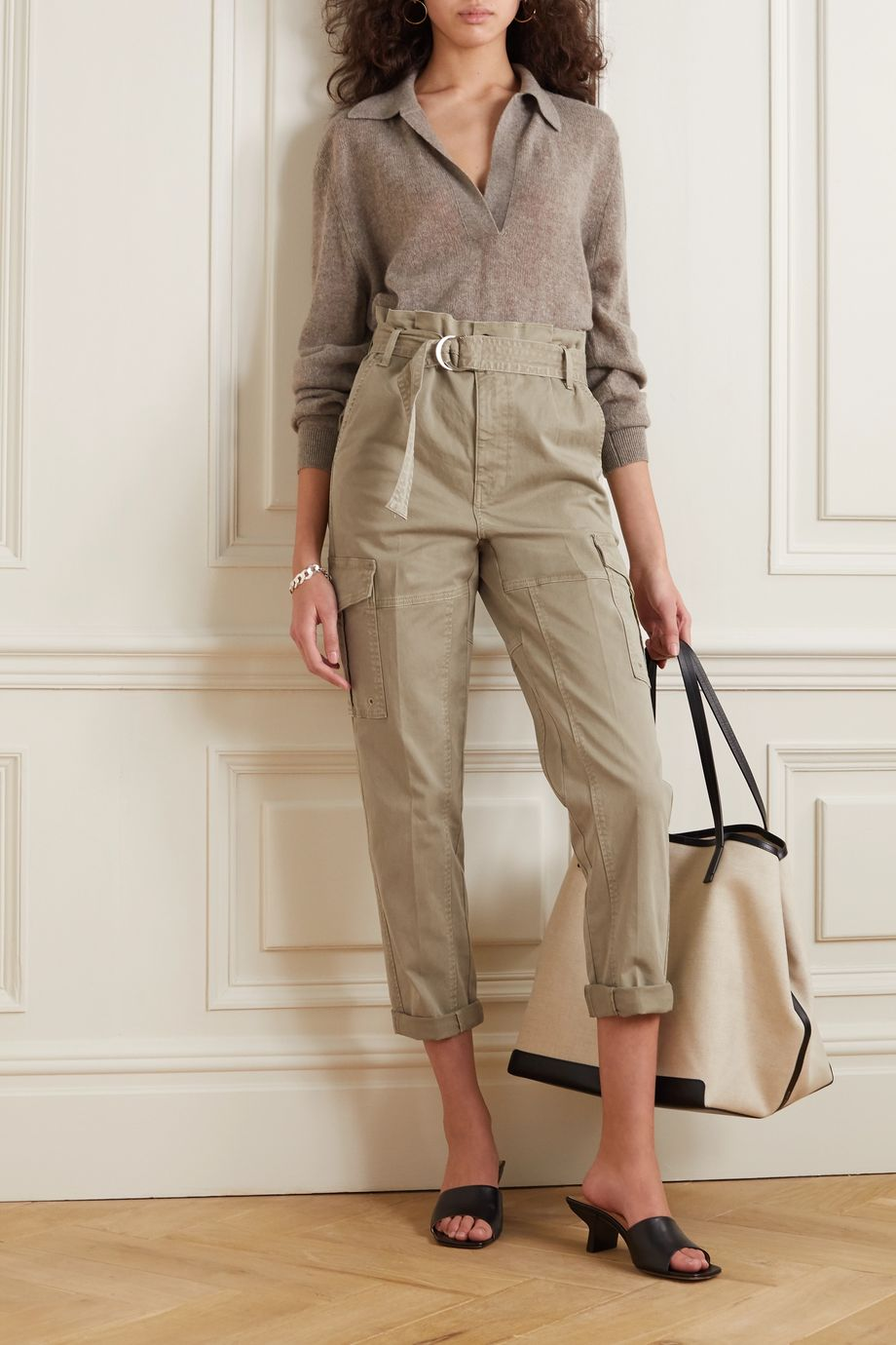 FRAME Safari cropped belted cotton-blend twill straight-leg cargo pants