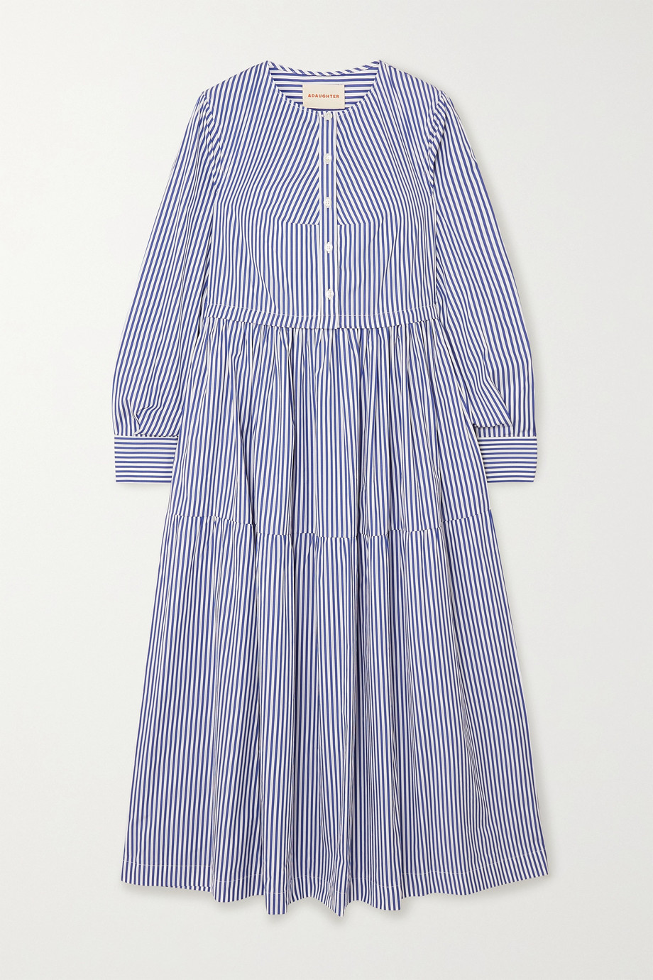 &Daughter Vivian tiered striped cotton-poplin midi dress