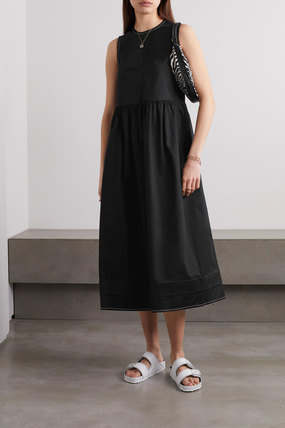 &Daughter Evelyn stretch-cotton twill midi dress
