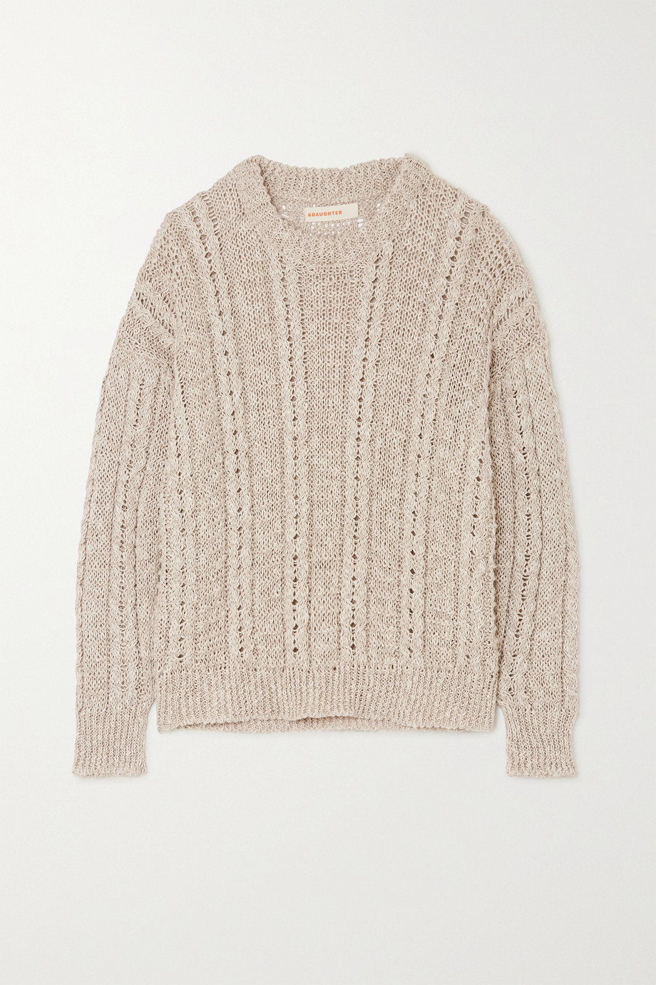 &Daughter Stevie cable-knit linen and cotton-blend sweater