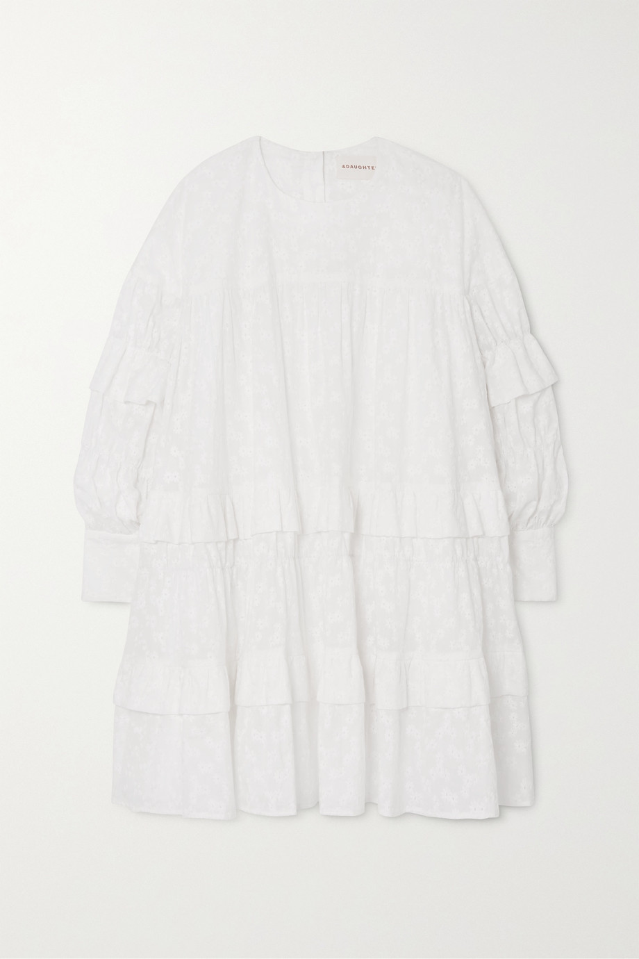 &Daughter Freda tiered embroidered cotton-voile mini dress