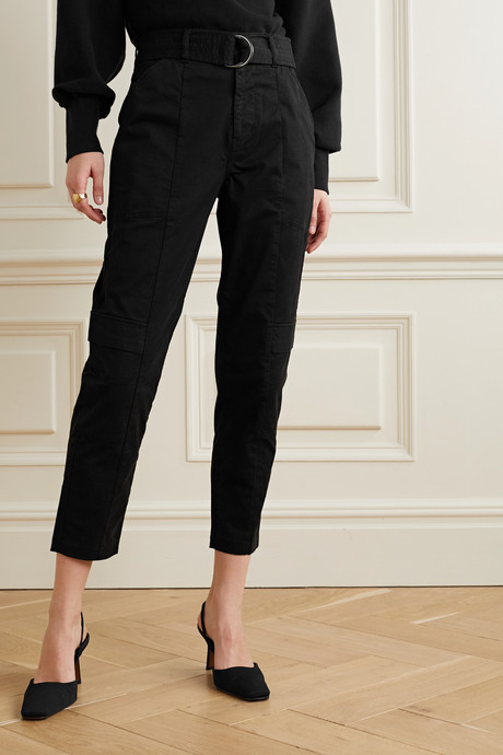 Athena belted cotton-blend twill tapered pants