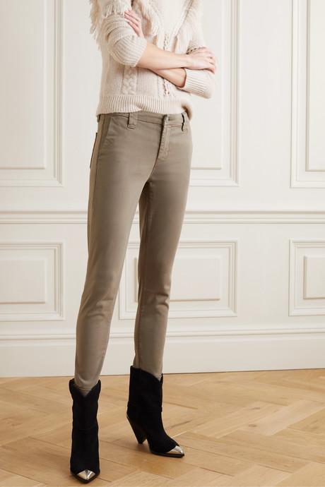 Paz brushed cotton-blend slim-leg pants