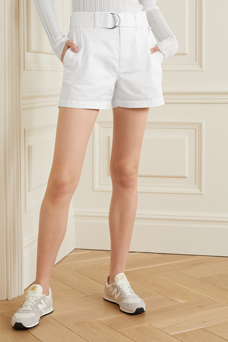 Evia Surplus belted cotton-blend twill shorts