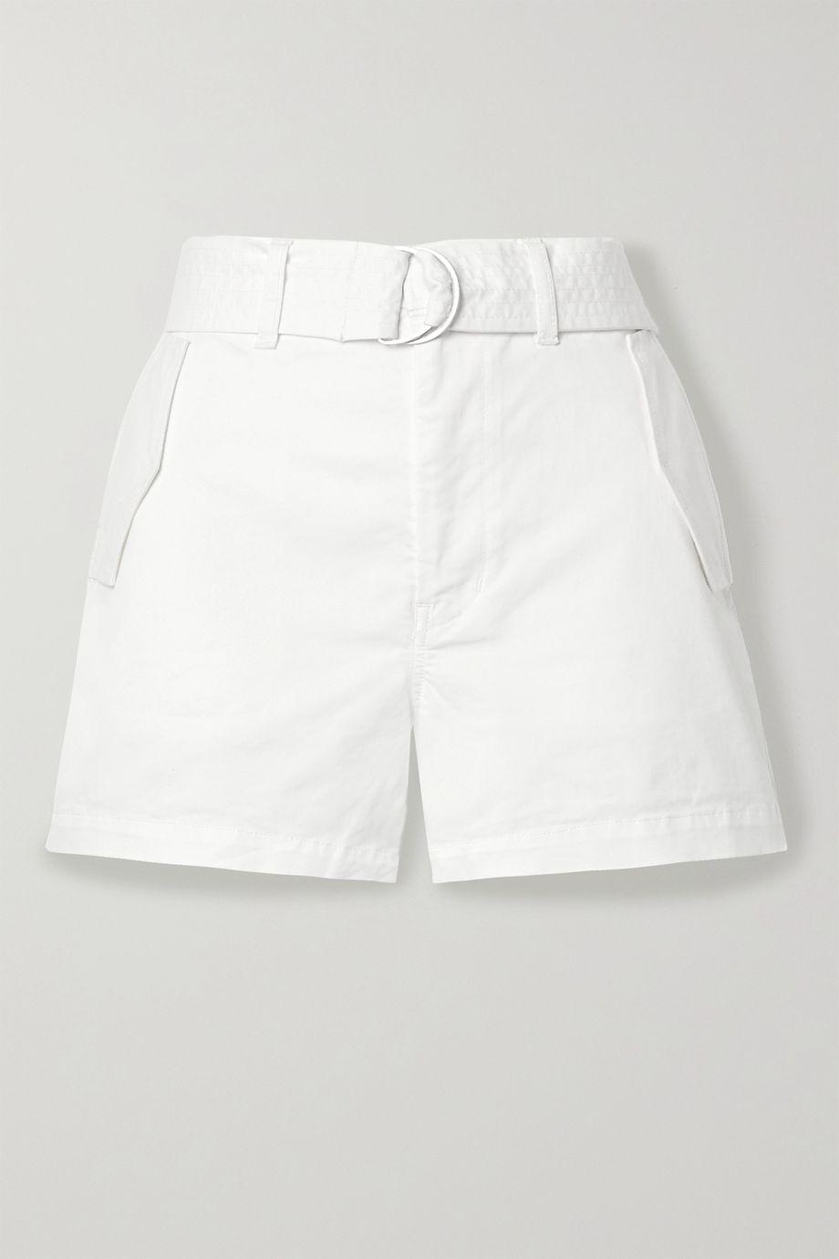 J Brand Evia Surplus belted cotton-blend twill shorts