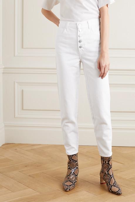 Heather high-rise straight-leg jeans