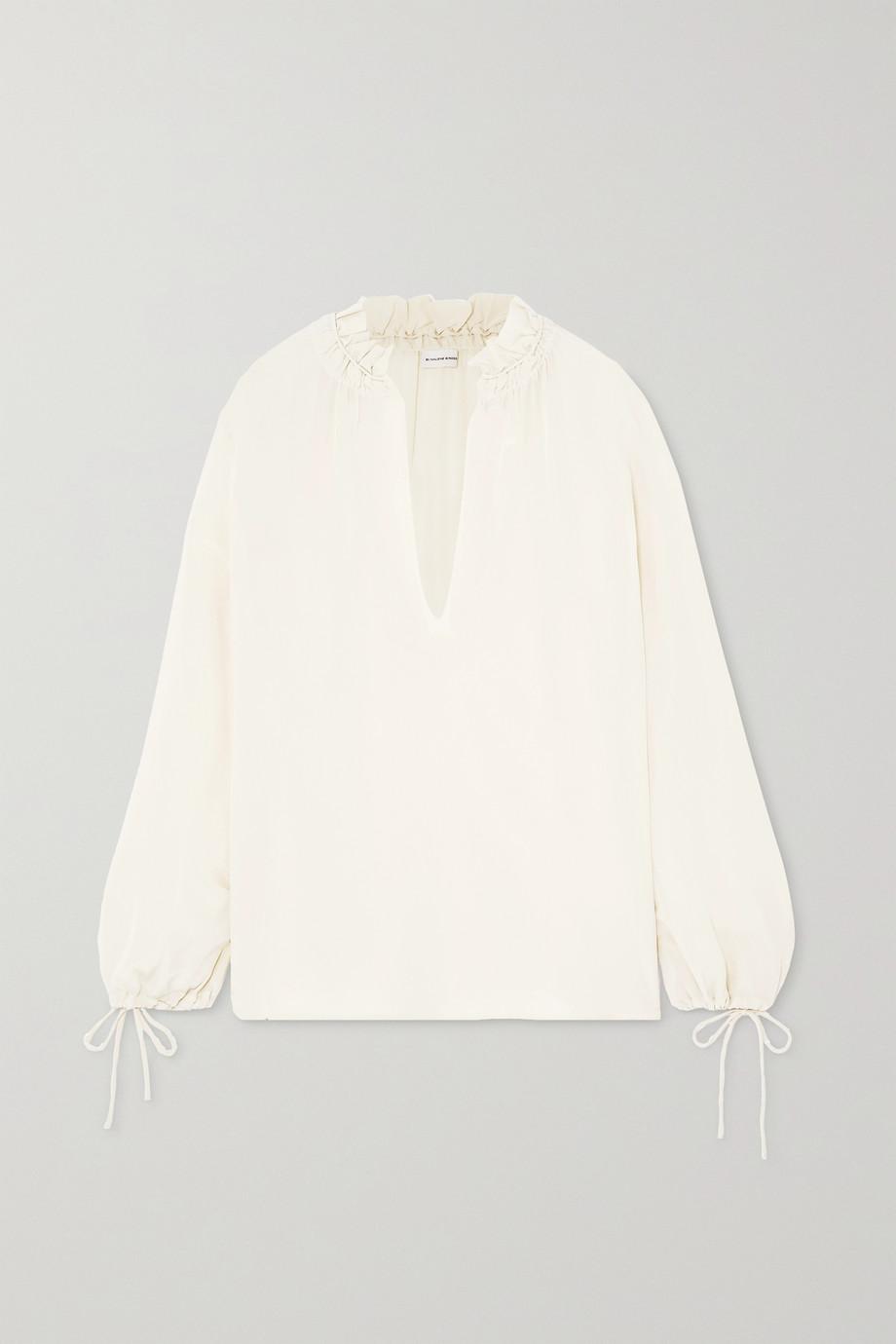 By Malene Birger Chestnutt tie-detailed ruffled silk crepe de chine blouse