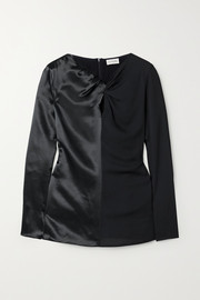 Ficus twist-front paneled satin and crepe blouse