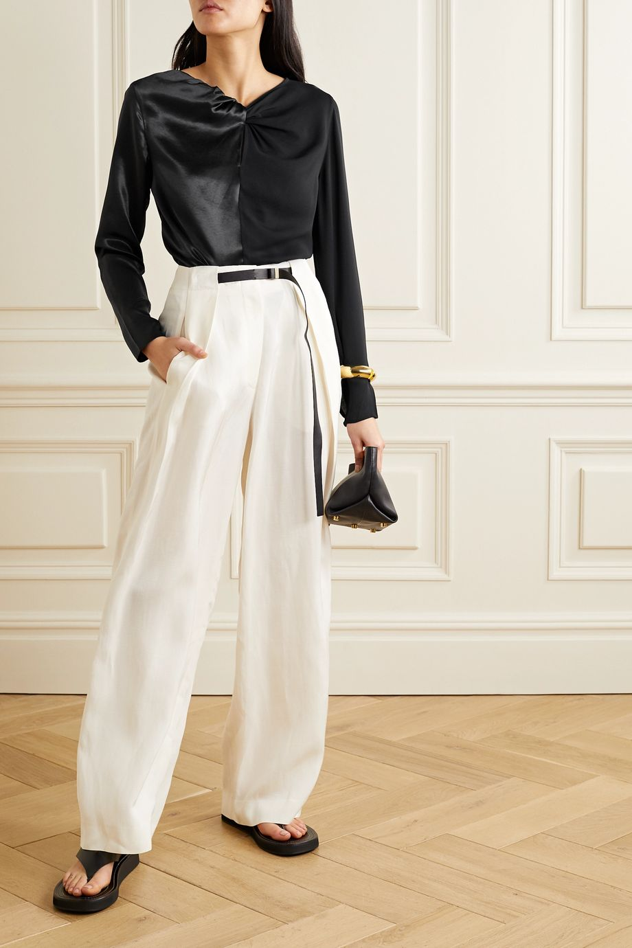 By Malene Birger Ficus twist-front paneled satin and crepe blouse