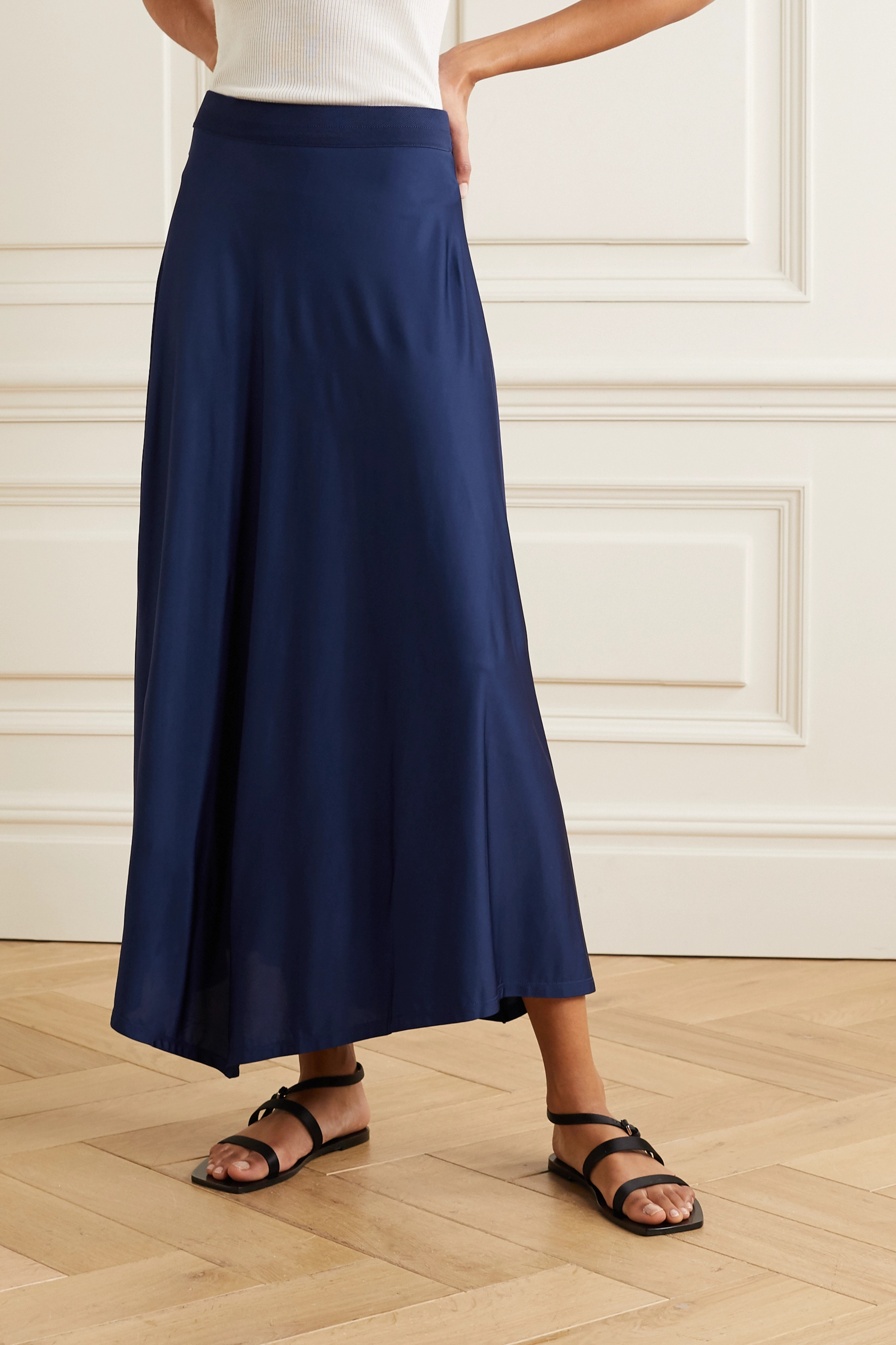 By Malene Birger Cayenne asymmetric satin midi skirt