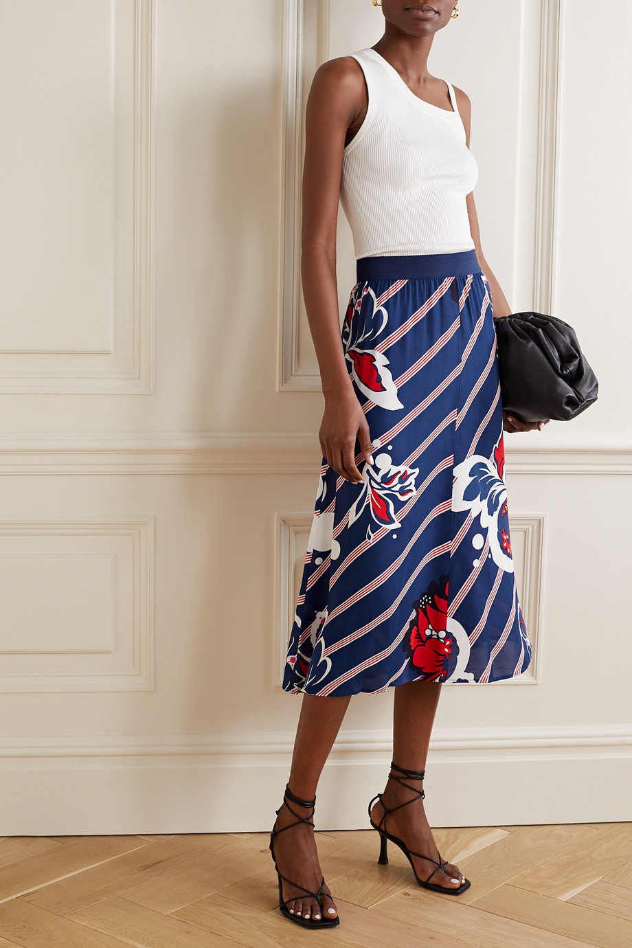 By Malene Birger Biella printed georgette midi skirt