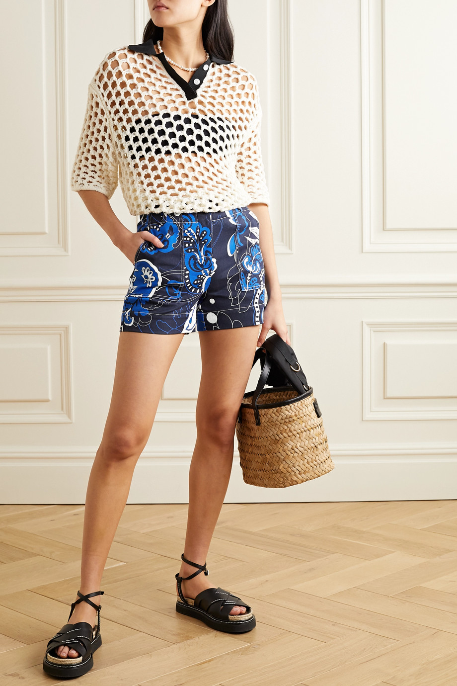 By Malene Birger Gaugler floral-print cotton-blend twill shorts