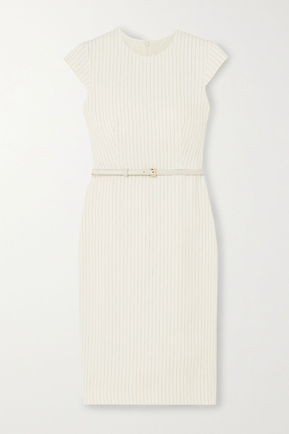 Max Mara Leandro belted pinstriped linen and silk-blend dress