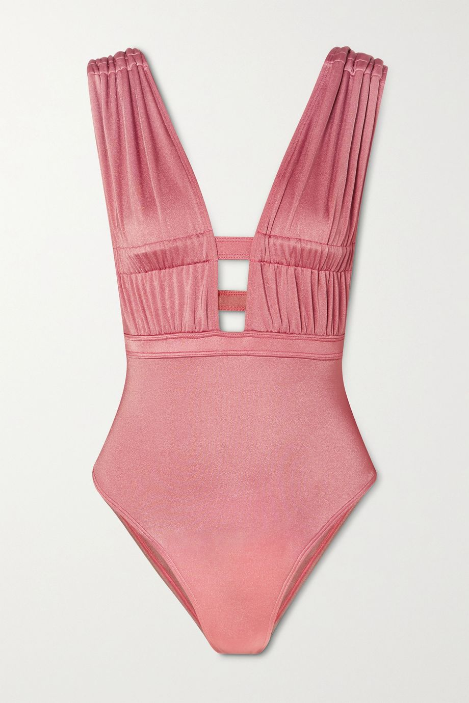 OYE Swimwear Athena ruched cutout swimsuit