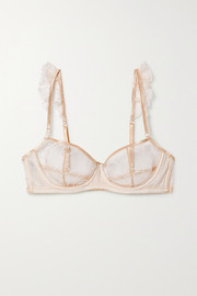 Lessay ruffled embroidered stretch-tulle underwired soft-cup bra