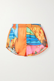 Printed crepe de chine shorts