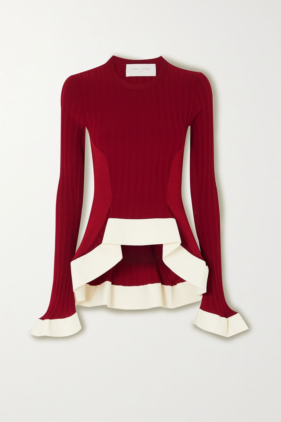 Esteban Cortázar Asymmetric ribbed-knit sweater