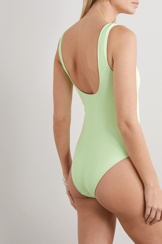 GANNI + NET SUSTAIN lace-up ribbed swimsuit