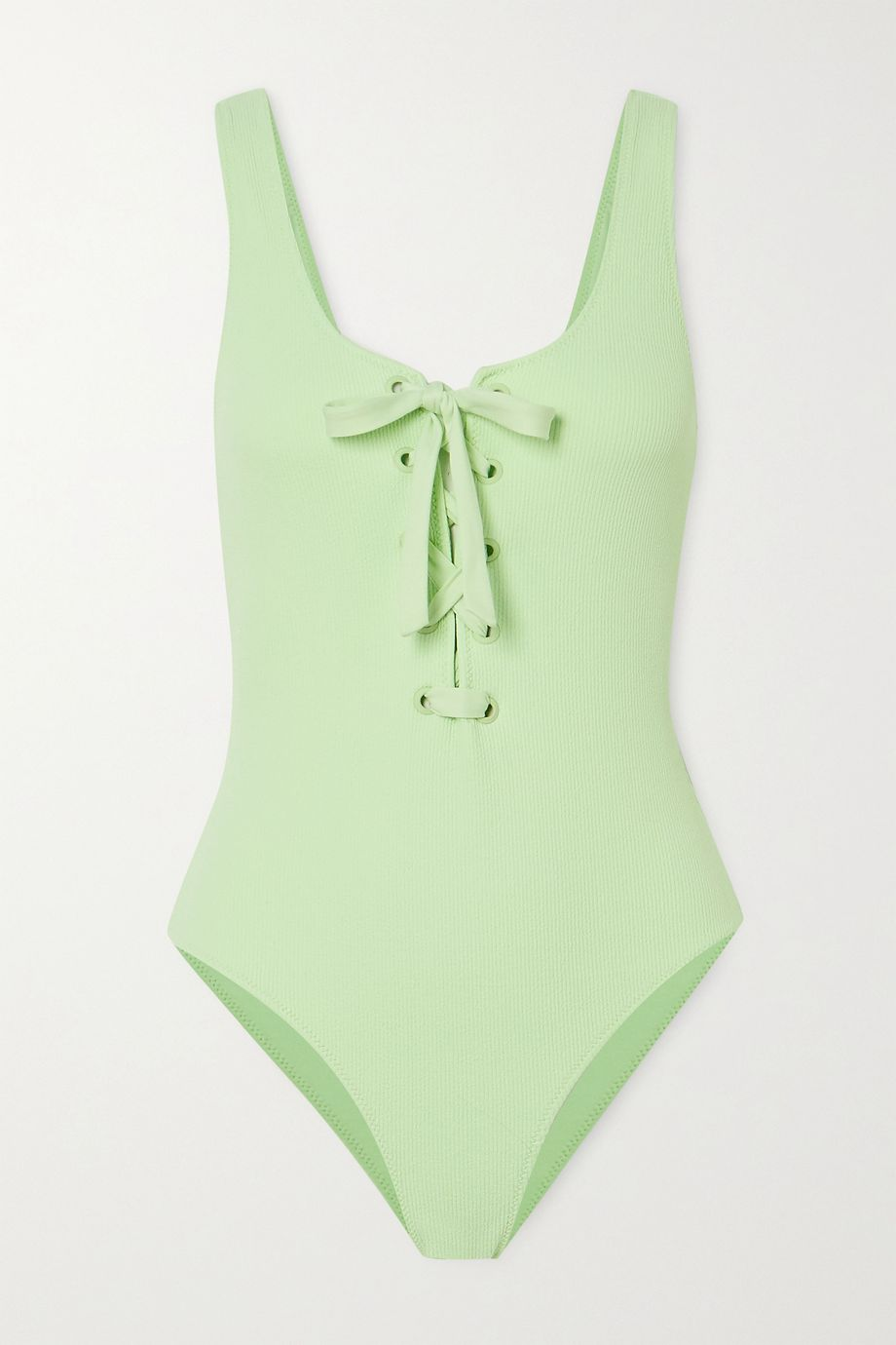 GANNI + NET SUSTAIN lace-up ribbed swimsuit