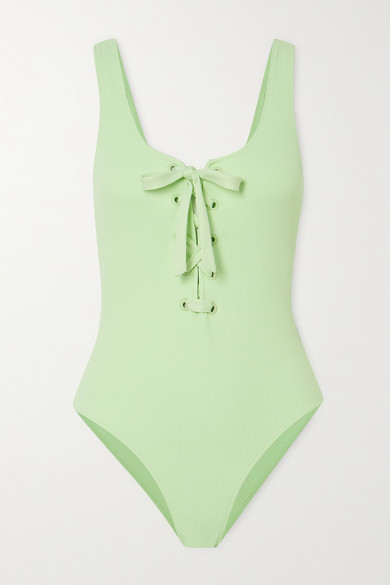 Ganni Net Sustain Lace-up Ribbed Swimsuit In Green