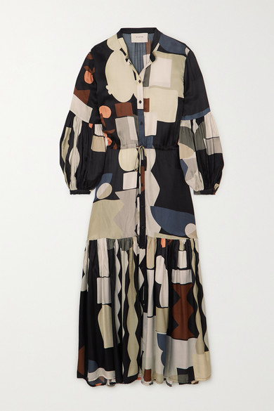 Munthe EMMANUEL TIERED PRINTED MATTE-SATIN MAXI DRESS