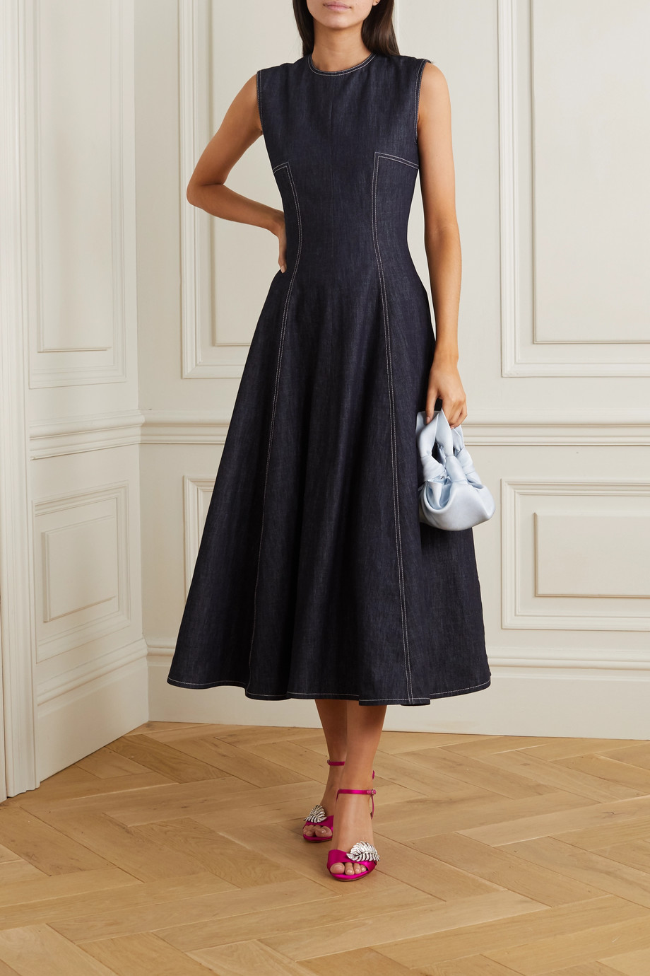 Emilia Wickstead Mara pleated denim midi dress