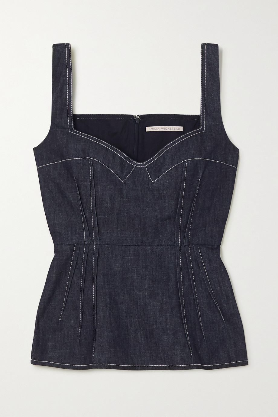 Emilia Wickstead Apple Bustier-Oberteil aus Denim