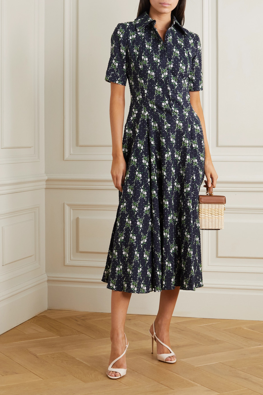 Emilia Wickstead Floral-print Swiss-dot cotton-seersucker midi dress