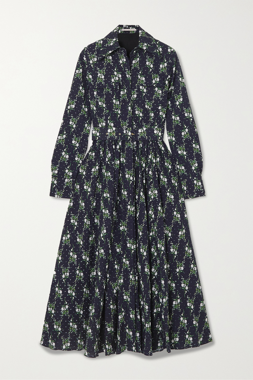 Emilia Wickstead Aurora belted floral-print Swiss-dot cotton-seersucker maxi dress